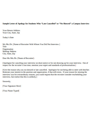 Sample Letter of Apology for Students