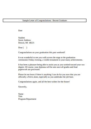 Sample Letter of Congratulations Recent Graduate