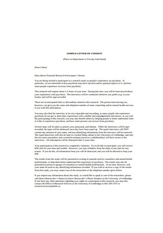 Sample Letter of Consent Format