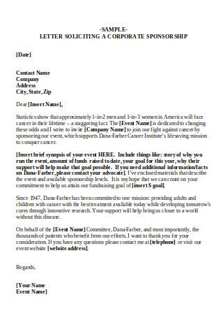 Sample Letter of Corporate Sponsorship