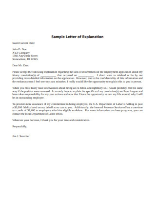 Sample Letter of Explanation