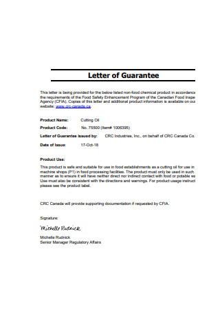 Sample Letter of Guarantee