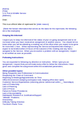 Letter Of Reprimand Samples from images.sample.net