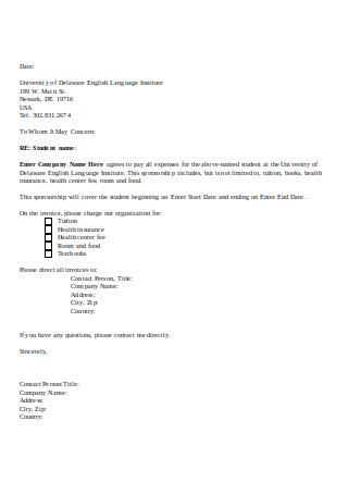 Sample Letter of Sponsorship