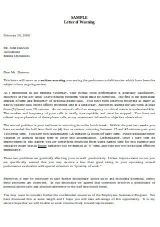 Sample Letter of Warning