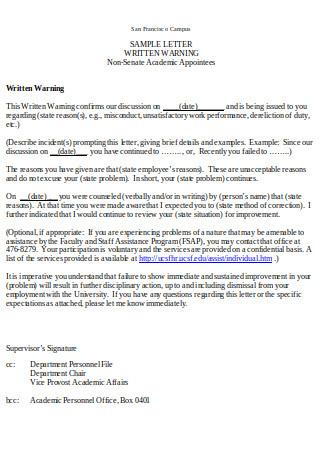 Sample Letter of Written Warning