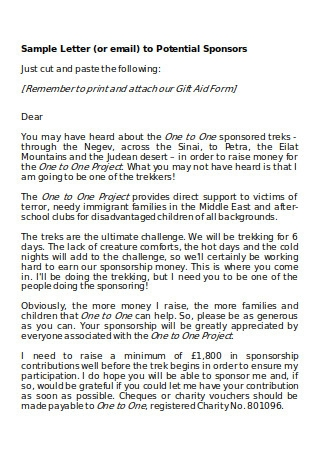 Sample Letter to Potential Sponsors