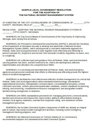 Sample Local Government Resolution