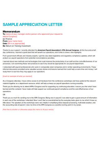 Sample Manager Letter of Appreciation