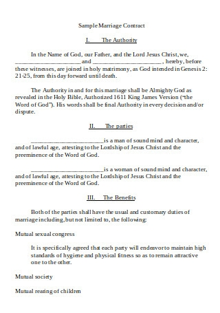 Sample Marriage Contract