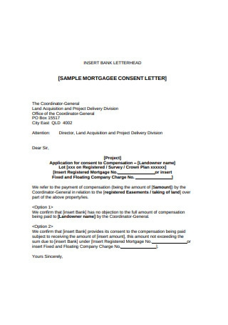 Sample Mortgage Consent Letter