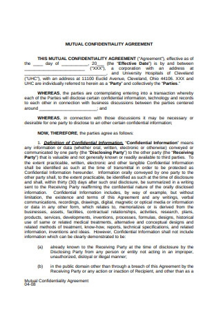Sample Mutual Confidentiality Agreement