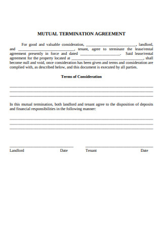 Sample Mutual Termination Agreement