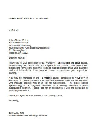 Sample Participant Rejection Letter