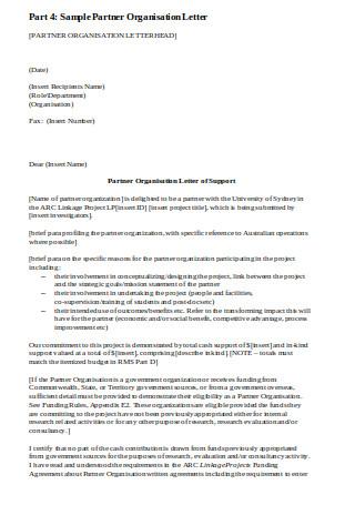 Sample Partner Organisation Letter