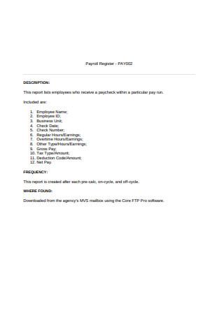 Sample Payroll Register