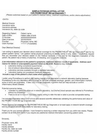Sample Physician Appeal Letter Format