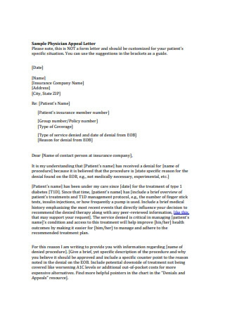 Sample Physician Appeal Letter