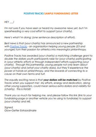 Sample Positive Tracks Fundraising Letter