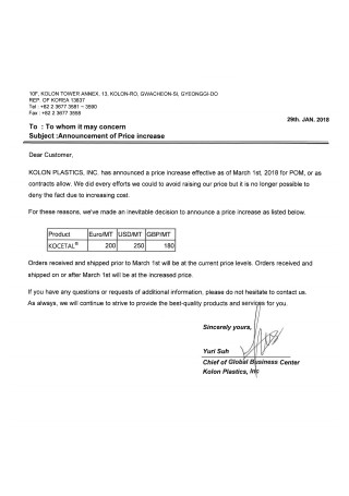 Sample Price Increase Announcement Letter
