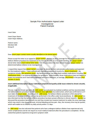 Sample Prior Authorization Appeal Letter