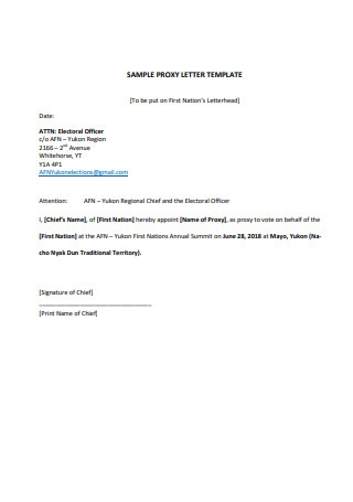 Sample Proxy Letter Template