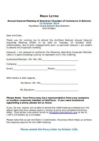 Sample Proxy Letter for AGM