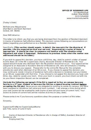Sample RA Dismissal Letter