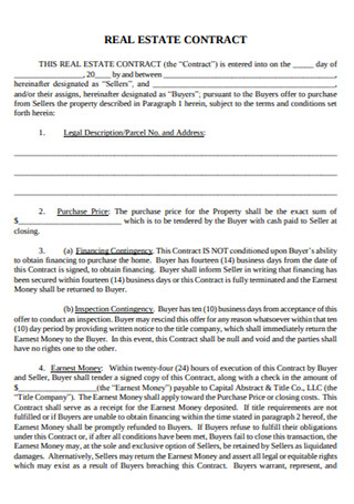Sample Real Estate Contract