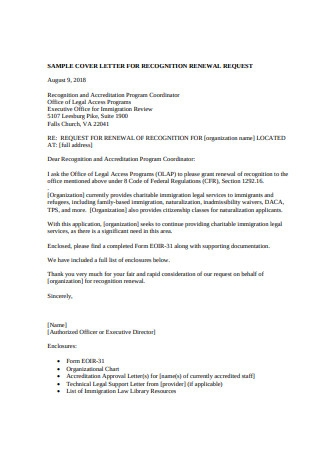 Sample Recognition Cover Letter