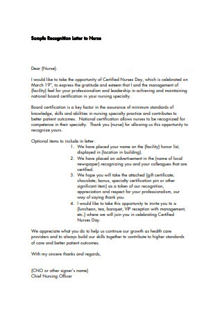 Sample Recognition Letter to Nurse