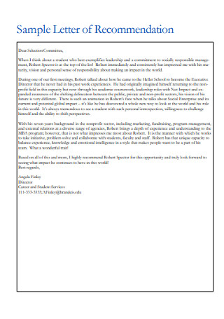 Sample Reference Letter of Recommendation