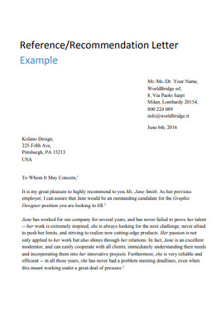 Sample Reference and Recommendation Letter