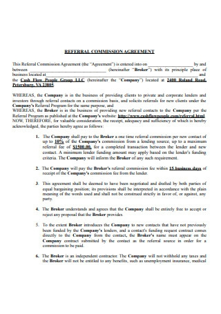 Sample Referral Commission Agreement