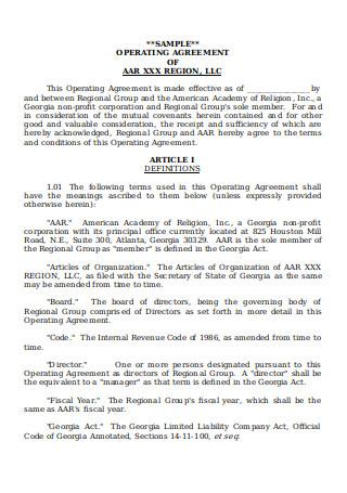 Sample Region Operating Agreement