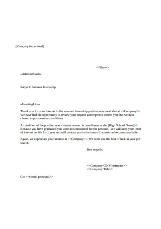 Sample Rejection Letter Example
