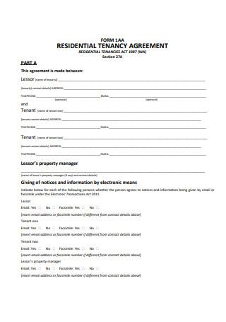 Sample Residential Tenancy Agreement Form