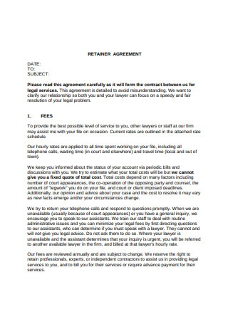 Sample Retainer Agreement Example