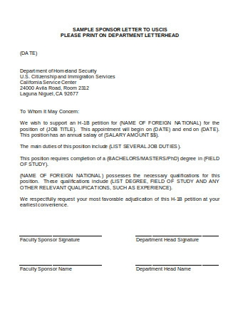 Sample Sponsor Letter Format