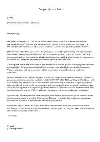 Sample Sponsor Letter