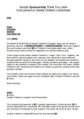 Sample Sponsorship Thank You Letter