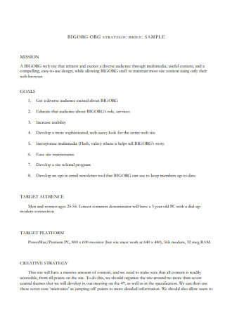 Sample Strategic Brief Template