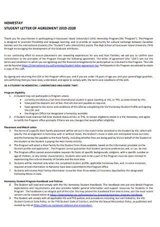 Sample Student Letter of Agreement