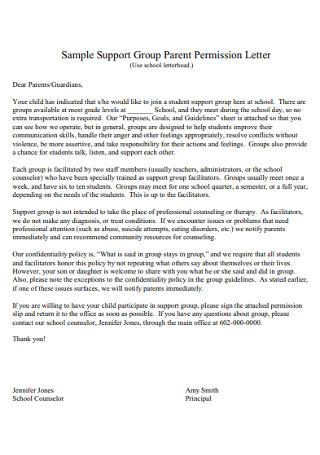 Sample Support Group Parent Permission Letter