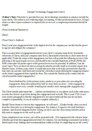 Sample Technology Engagement Letter