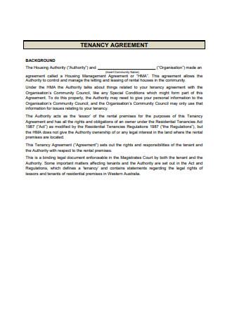 Sample Tenancy Agreement