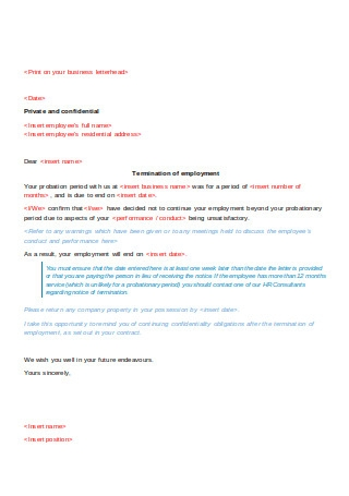 Sample Unsuccessful Probation Letter