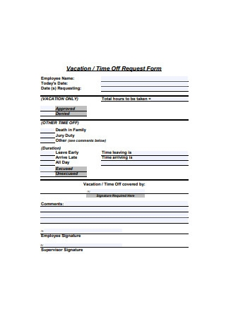 Sample Vacation Time Off Request Form