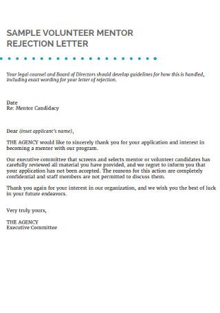 Sample Volunteer Application Rejection Letter