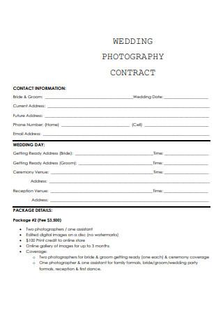 Sample Wedding Photography Contract